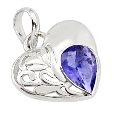 2.95cts natural blue iolite 925 sterling silver heart pendant jewelry d45617