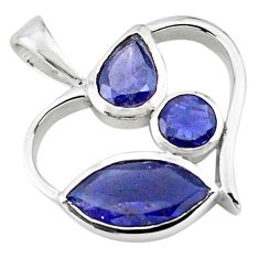 8.26cts natural blue iolite 925 sterling silver heart pendant jewelry d45630