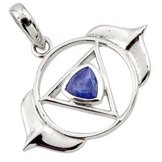 0.96cts natural blue iolite 925 sterling silver pendant jewelry d45608