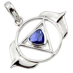 1.09cts natural blue iolite 925 sterling silver pendant jewelry d45627