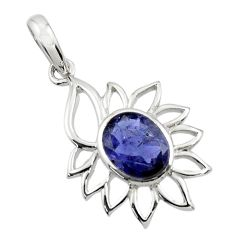 Clearance Sale- 3.80cts natural blue iolite 925 sterling silver pendant jewelry d45643