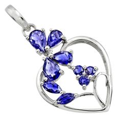 7.04cts natural blue iolite 925 sterling silver pendant jewelry r25832