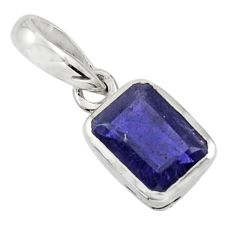 2.05cts natural blue iolite 925 sterling silver pendant jewelry r43469