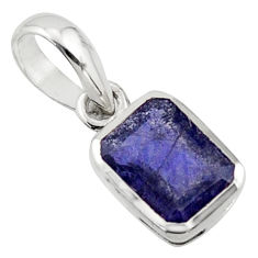 1.90cts natural blue iolite 925 sterling silver pendant jewelry r43470