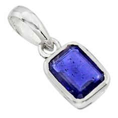 2.13cts natural blue iolite 925 sterling silver pendant jewelry r43473