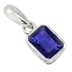 1.76cts natural blue iolite 925 sterling silver pendant jewelry r43481