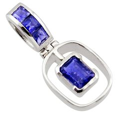 2.57cts natural blue iolite 925 sterling silver pendant jewelry r43607