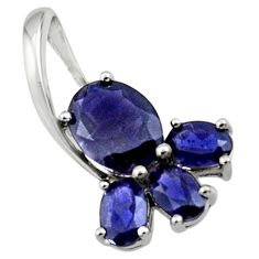 5.13cts natural blue iolite 925 sterling silver pendant jewelry r45498