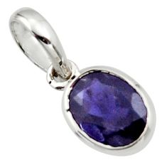 2.74cts natural blue iolite 925 sterling silver pendant jewelry r45577