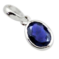 2.71cts natural blue iolite 925 sterling silver pendant jewelry r45578