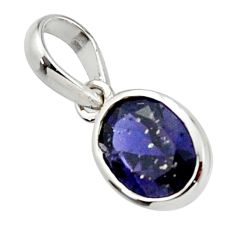3.01cts natural blue iolite 925 sterling silver pendant jewelry r45579