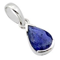 2.21cts natural blue iolite 925 sterling silver pendant jewelry r45597