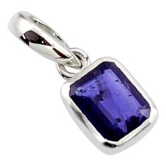 2.14cts natural blue iolite 925 sterling silver pendant jewelry r45600