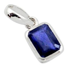 1.99cts natural blue iolite 925 sterling silver pendant jewelry r45678