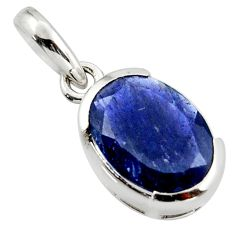 4.62cts natural blue iolite faceted oval 925 sterling silver pendant d45991