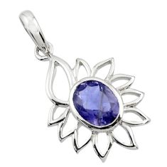 Clearance Sale- 4.02cts natural blue iolite oval 925 sterling silver pendant jewelry d45662