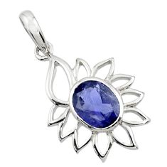 Clearance Sale- 4.06cts natural blue iolite oval 925 sterling silver pendant jewelry d45691