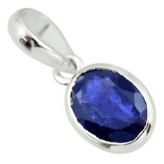3.26cts natural blue iolite oval 925 sterling silver pendant jewelry r27411