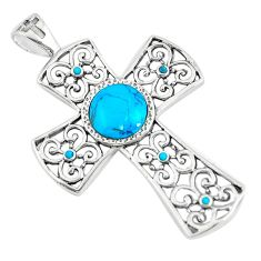 4.48cts natural blue kingman turquoise 925 silver holy cross pendant c10768