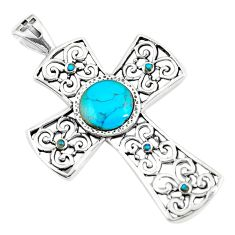 4.21cts natural blue kingman turquoise 925 sterling silver cross pendant c10765