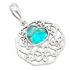 3.11cts natural blue kingman turquoise 925 sterling silver heart pendant c10844