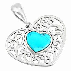 3.25cts natural blue kingman turquoise 925 sterling silver pendant c10857
