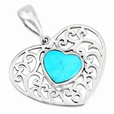 2.61cts natural blue kingman turquoise 925 sterling silver pendant c10858