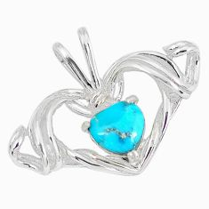2.31cts natural blue kingman turquoise 925 sterling silver heart pendant c10896