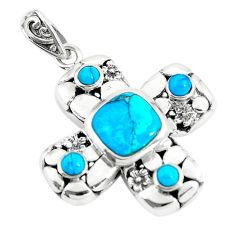 4.21cts natural blue kingman turquoise 925 sterling silver pendant c10763