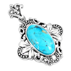 4.38cts natural blue kingman turquoise 925 sterling silver pendant c10797
