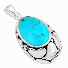 2.33cts natural blue kingman turquoise 925 sterling silver pendant c10861