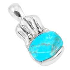 6.83cts natural blue kingman turquoise 925 sterling silver pendant c10873