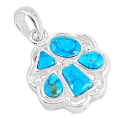 2.61cts natural blue kingman turquoise 925 sterling silver pendant c10893