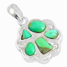 2.54cts natural blue kingman turquoise 925 sterling silver pendant c10898