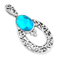 2.41cts natural blue kingman turquoise 925 sterling silver pendant c10903