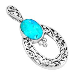 2.15cts natural blue kingman turquoise 925 sterling silver pendant c10917