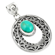 4.38cts natural blue kingman turquoise 925 sterling silver pendant r20275