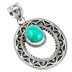 4.21cts natural blue kingman turquoise 925 sterling silver pendant r20276