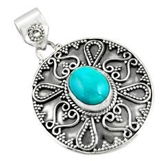 4.71cts natural blue kingman turquoise 925 sterling silver pendant r20279