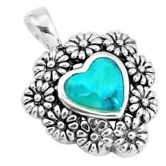 2.50cts natural blue kingman turquoise 925 silver heart flower pendant c10829