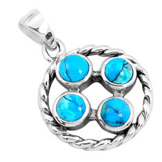 1.81cts natural blue kingman turquoise 925 sterling silver pendant c10886