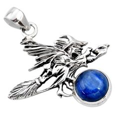 5.32cts natural blue kyanite 925 silver pentacle witches broom pendant r52958