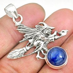 5.14cts natural blue kyanite 925 silver pentacle witches broom pendant r90465