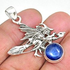 5.19cts natural blue kyanite 925 silver pentacle witches broom pendant r90469
