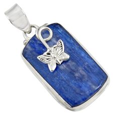 24.35cts natural blue kyanite 925 sterling silver butterfly pendant d42669