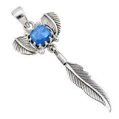 3.42cts natural blue kyanite 925 sterling silver dreamcatcher pendant r72852