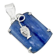 Clearance Sale- 23.13cts natural blue kyanite 925 sterling silver fish pendant jewelry d42663
