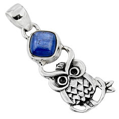 3.50cts natural blue kyanite 925 sterling silver owl pendant jewelry r52917