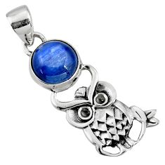 5.38cts natural blue kyanite 925 sterling silver owl pendant jewelry r52937