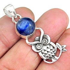 5.18cts natural blue kyanite 925 sterling silver owl pendant jewelry r90333